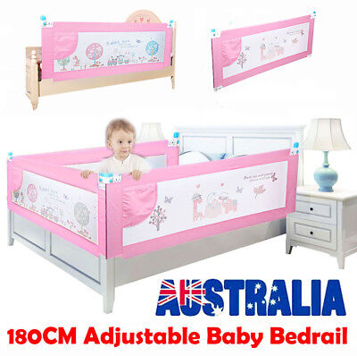 1.8m Swing Down Bedrail Bed Rail Crib Toddler Elderly Baby Safety Net Guard Pink