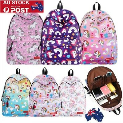 Womens Unicorn Rainbow Backpack School Bag Travel Girls Book Rucksack Satchel AU