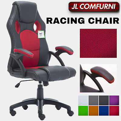 Racing Office Chair Sports Computer Desk Mesh PU Leather Executive Gaming Swivel