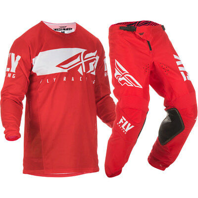 NEW Fly Racing 2019 MX Kinetic Shield Red White Jersey Pants Motocross Gear Set