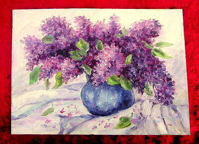 Lilacs Painting Antique, Original, Oil, Russian Impressionism, Rare