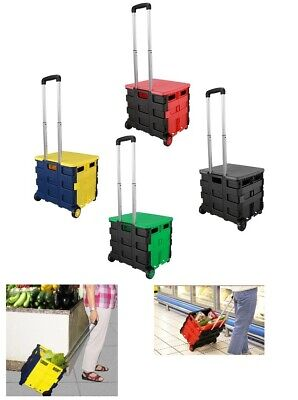 Portable Folding Market Shopping Cart Collapsible Trolley Luggage Cart & Lid