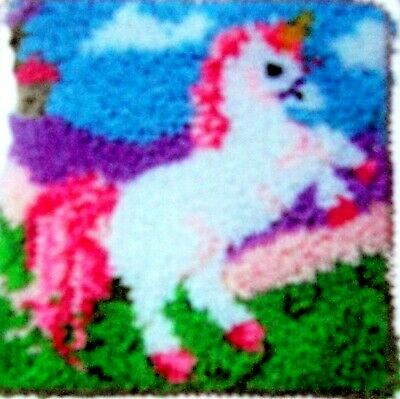 """Latch Hook   Rug/ Pillow  Kit  """"a Unicorn"""" Latch Tool Included"""