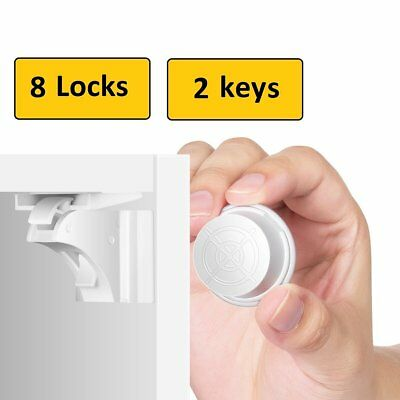 Invisible Magnetic Baby Child Proof Cupboard Door Drawer Kids Safety Lock Catch