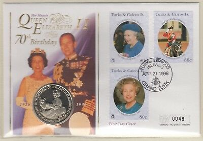 Turks And Caicos Qeii 70Th Birthday 5 Dollars Coin Cover