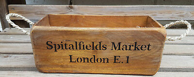Vintage Style SPITALFIELDS MARKET Wooden Crate With Rope Handles Decorative
