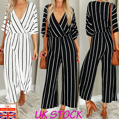 UK Womens V Neck Half Sleeve Striped Jumpsuit Holiday Wide Leg Playsuit Trousers