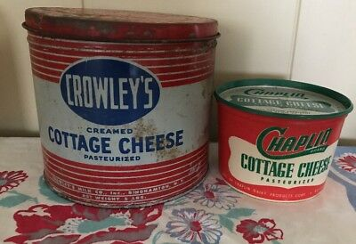 2 VIIntage CROWLEY'S & CHAPLIN Cottage Cheese Tin & Container Tin Lid 5lb 1lb