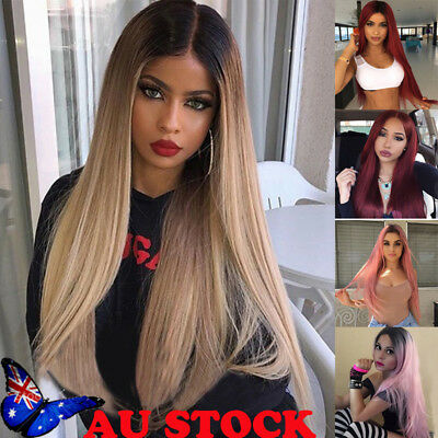 Women Synthetic Straight Long Wig Ombre Wine Red Pink Blonde Cosplay Hair Wigs