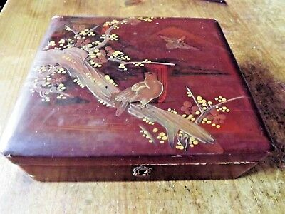 Antique Japanese Hand Painted Red Lacquer Box with Birds