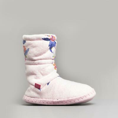 Joules PADABOUT Girls Warm Lined Fleece Slippersocks Pink Marl Granny Floral