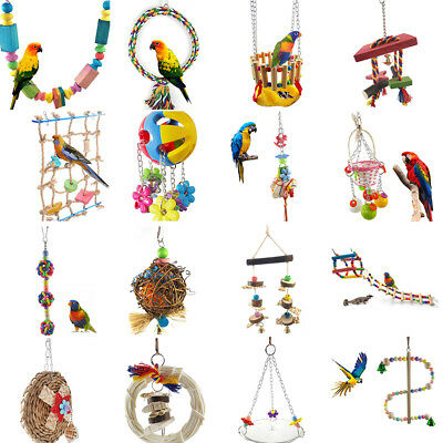 Cn_ Parrot Swing Bird Toy Nest Bed Rope Cage Toys Parakeet Cockatiel Budgie St