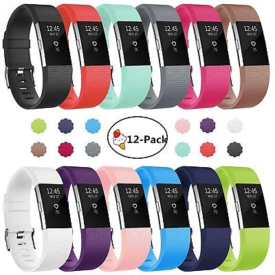 Replacement Watch Strap Band Metal Buckle Wristband Silicone For FitBit Charge 2