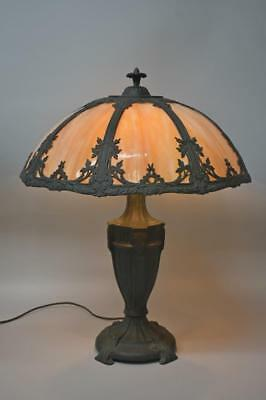12bf0aa2a025 Antique Bent Slag Glass Panel Table Lamp Floral Details Two Sockets