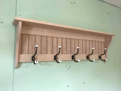 "Oak Hanging Wall Coat Rack with Antique Brass and Porcelain Hooks 42"" Wide Unfin"