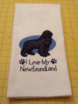 I Love My Newfoundland Embroidered Williams Sonoma Kitchen Hand Towel, 20x30
