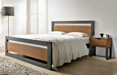 NEW CHARCOAL & WALNUT FINISH 4'6ft DOUBLE SOLID WOOD BED FRAME