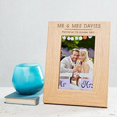 Personalised Wedding Photo Frame Engraved Mr Mrs Gift for Bride Groom 6x4 7x5