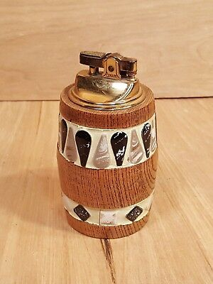Vintage PENGUIN Japan TABLE LIGHTER ~ Wood w/ Inlaid Tile ~ MID CENTURY MODERN