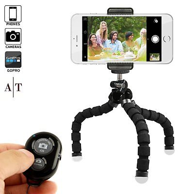 Phone Tripod, Portable and Adjustable Camera Stand Holder With Bluetooth Remote