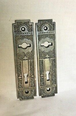 Antique Hardware, Door Plate, 1885, Cast Iron, Ornate, Eastlake Style, Deco, 2PC