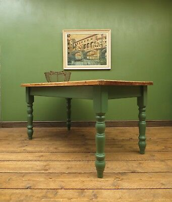 Green Painted Pine Kitchen Dining Table Removable Legs Butchers Top, seats six