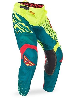 Fly Racing Hi-Viz-Teal 2017 Kinetic Mesh Trifecta Kids MX Pant