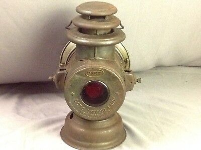 Antique Dietz OCTO Driving Lamp Pat. 1906 to 1908 Red Lens In Back Original Lens