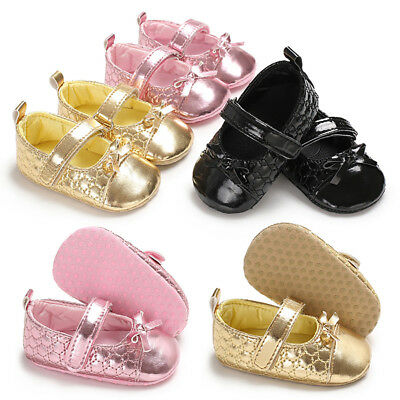 CN_ Infant Baby Girls Faux Leather Bowknot Anti-slip Prewalker Toddler Shoes R