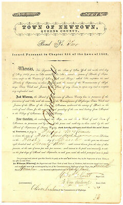 Newtown, Town of. Bond Certificate for Road Repair, Queens County, New York