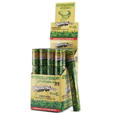 Cyclones Hemp Wrap Cones Wonderberry 24 FRESH Tubes RAW Juicy Jay Herbal Cyclone