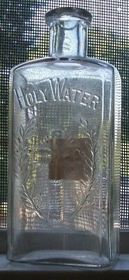 1890S Era Holy Water Original Label Say One Hail Mary Cross & Laurel Branches