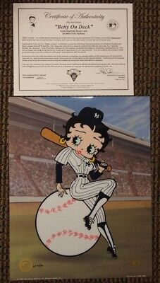 """BETTY ON DECK"" The NY Yankees Betty Boop Artist Proof Sericel Cel UF MLB Seal"