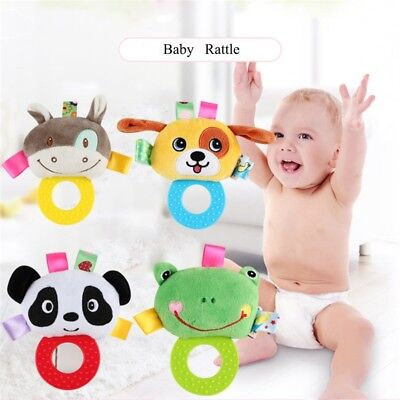 Newborn Baby Animal Plush Rattles Teether Hanging Bell BB Sound Infant Toys New