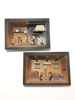 Pair of Vintage Italian Folk Art Shadow Boxes Kitchen Scene Diorama Hand Carved