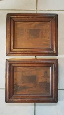 Pair of Antique Vintage Print Art Artwork Wood Panel Wood Frame 11x9x1""
