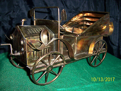 """Vintage Music Box Copper Brass Look Tin Antique Car/Tune is """" King of the Road """""""