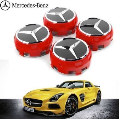 Mercedes Wheel Hub Amg Alloy Centre Caps - Red/black 75Mm A B C E S Ml Class
