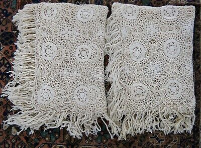 Vintage Rare Pair Hand Crochet Ivory Cotton Twin Single Bedspreads / Throws