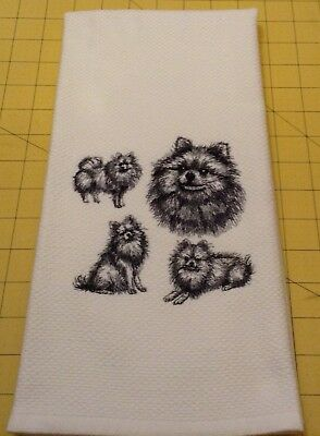 Pomeranian Collage  Embroidered Williams Sonoma Kitchen Hand Towel