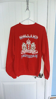 Vintage HOLLAND AMSTERDAM Coat of Arms Sweatshirt LARGE Red Acrylic Blend