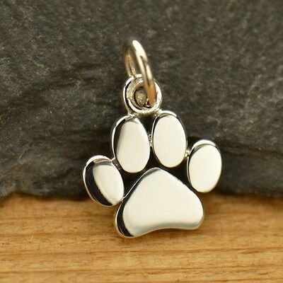 .925 Sterling Silver miniature PAW PRINT Charm Love Pet Memorial Dog Cat Charms