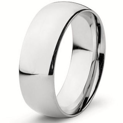 8mm Wide Pure Solid 925 STERLING SILVER Plain Wedding Band Ring MEN'S size 8-13