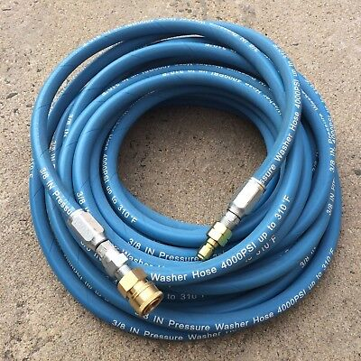 """4000PSI 3/8"""" x 50FT Blue Non-Marking Pressure Washer Hose w/ QC Fittings"""