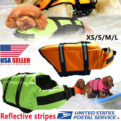 Dog Life Jacket Preserver Pet Aboard  Safety Vest Puppy Small Large Swimming US