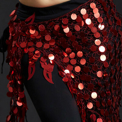 New 2018 Belly Dance Costumes Hip Scarf Wrap Belt Skirt Sequins  triangle USA