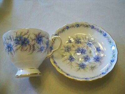 """Tuscan Fine English Bone China Tea Cup and Saucer Set """"Love in the Mist"""" England"""