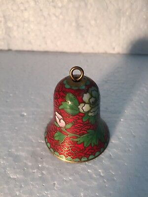 Cloisonné Bell CHINESE Brass JINGFA Green & Red & White Flowers  🌺 VINTAGE