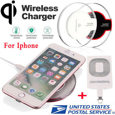 Clear Qi Wireless Fast Charger Dock Charging Pad+Receiver For iPhone 6/6s/7 Plus