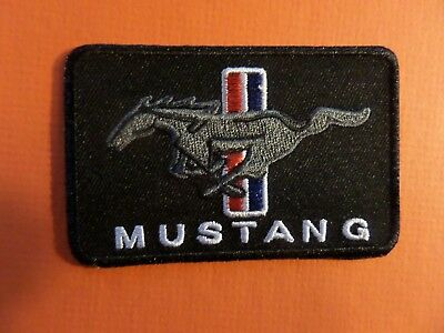 """""""FORD MUSTANG"""" red & black Embroidered 2-1/8 x 3-1/4 Iron On Patch"""